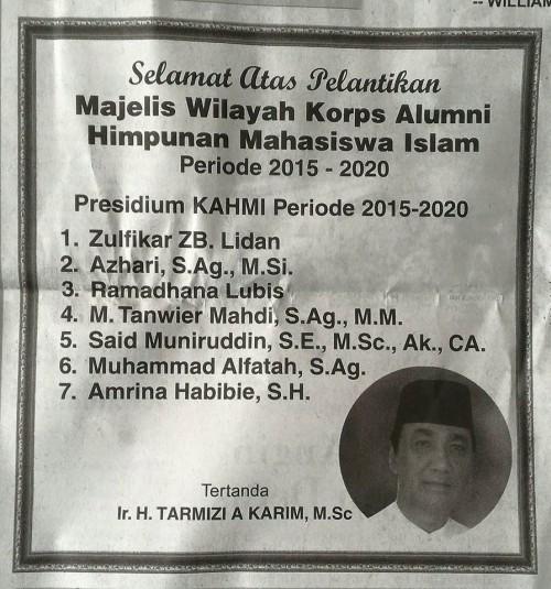 UCAPAN DARI TARMIZI KARIM. Ucapan selamat untuk pengurus KAHMI Aceh 2015-2020 dari Ir.H. Tarmizi A.Karim, M.Sc (Selasa, 09/02/2016).