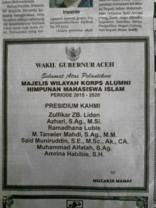 KAHMI ACEH 2015-2020. Ucapan selamat dari Wakil Gubernur Aceh, Muzakir Manaf.